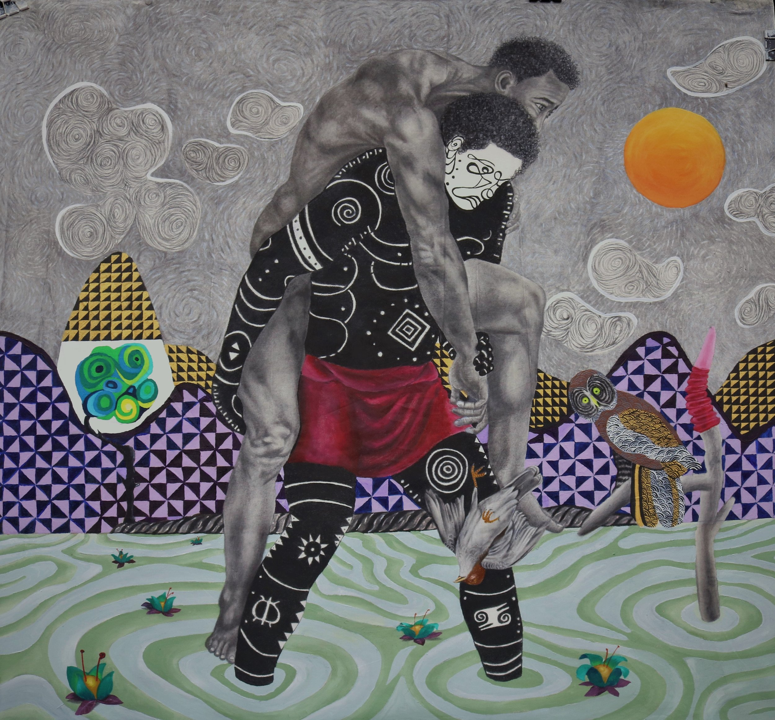 Carry You Home, Acrylic, oil, charcoal, pencil on canvas, 121 x 123 cm, 2019, Kelechi Nwaneri