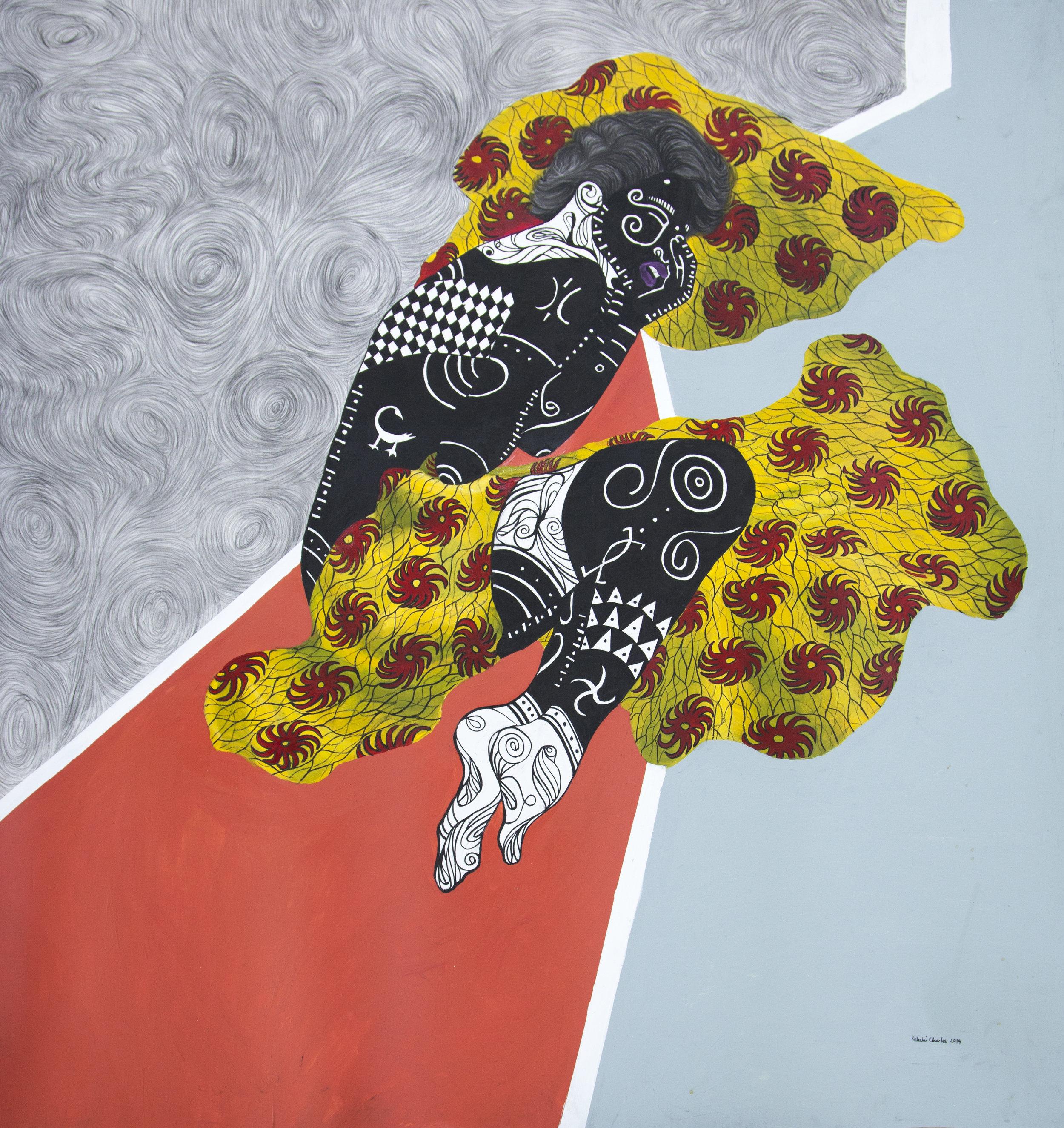 Broken, Acrylic and charcoal on Bristol Strathmore paper, 106 x 119 cm, 2019, Kelechi Nwaneri