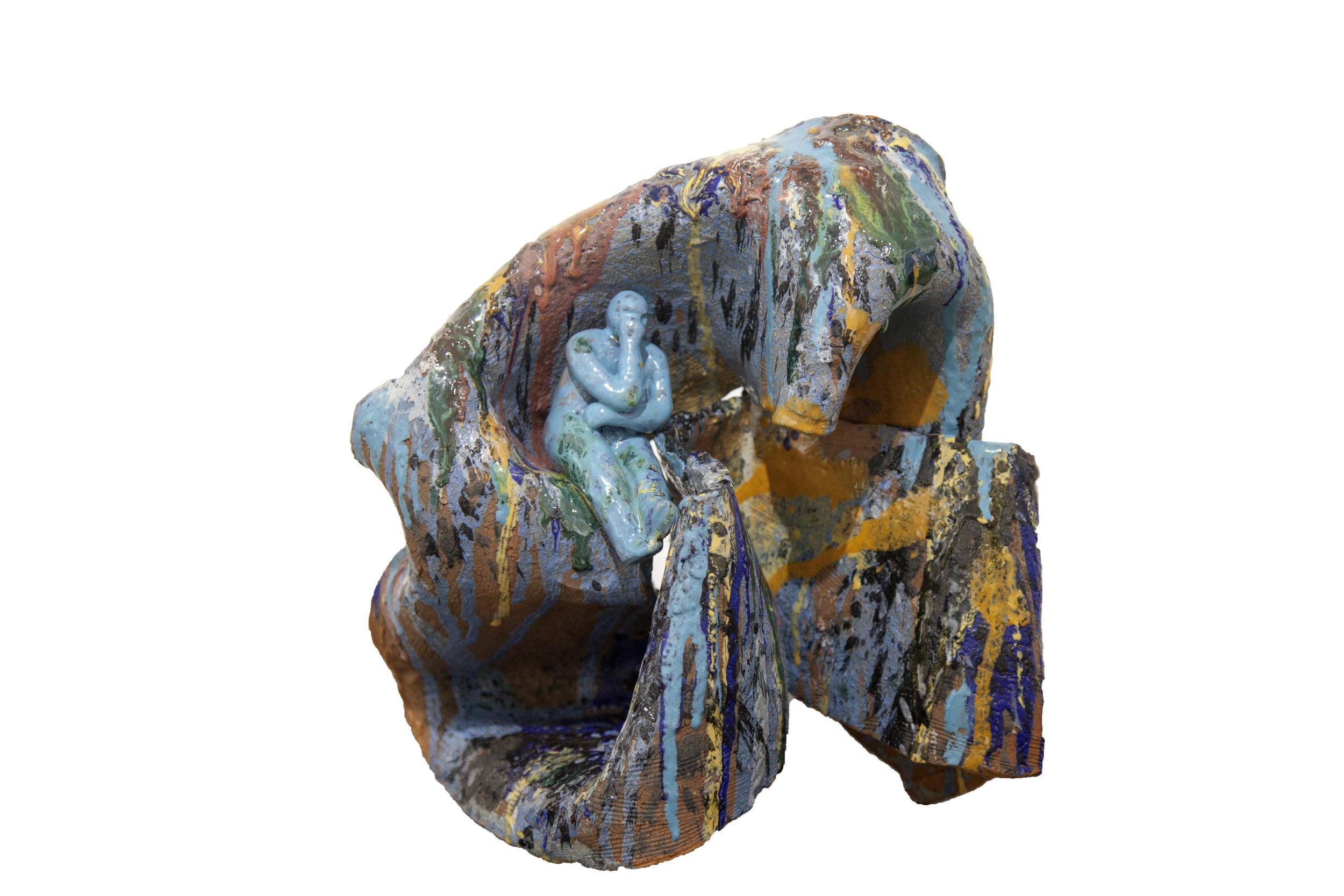 Over thinking, Glazed Clay, 30 x 30 cm, 2019, Nathalie Djakou Kassi