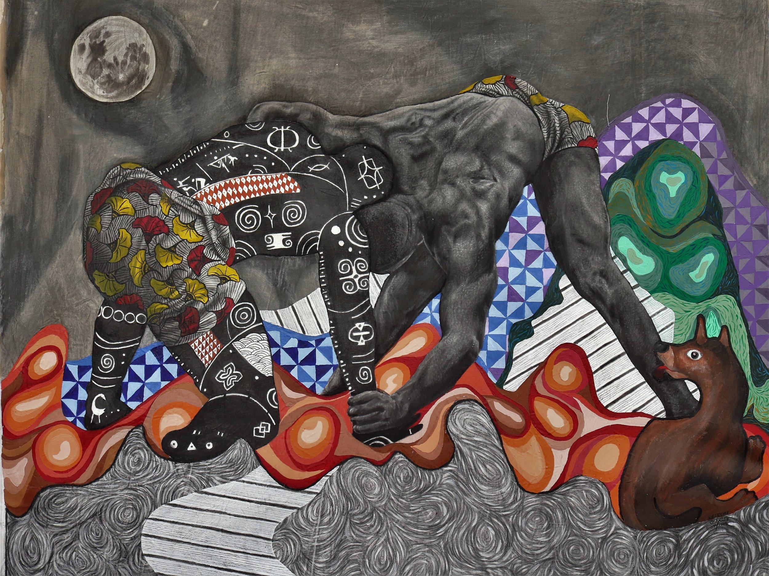 Battle Within, Battle Within, Acrylic, charcoal, pencil, watercolour on canvas, 145 x 162 cm, 2019, Kelechi Nwaneri