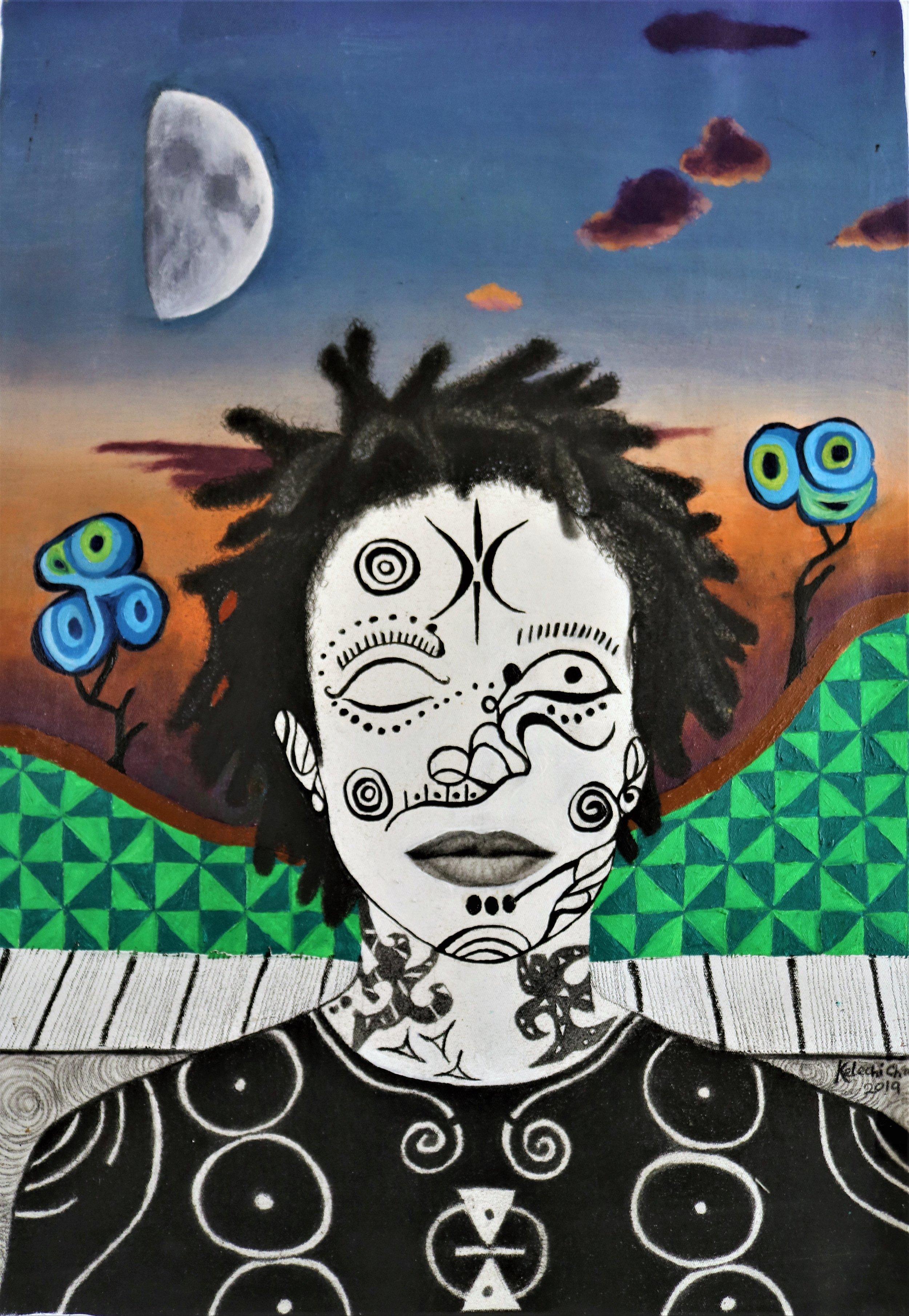 Time, People & Change II, Acrylic, oil, charcoal, pencil on canvas, 42 x 60 cm, 2019, Kelechi Nwaneri