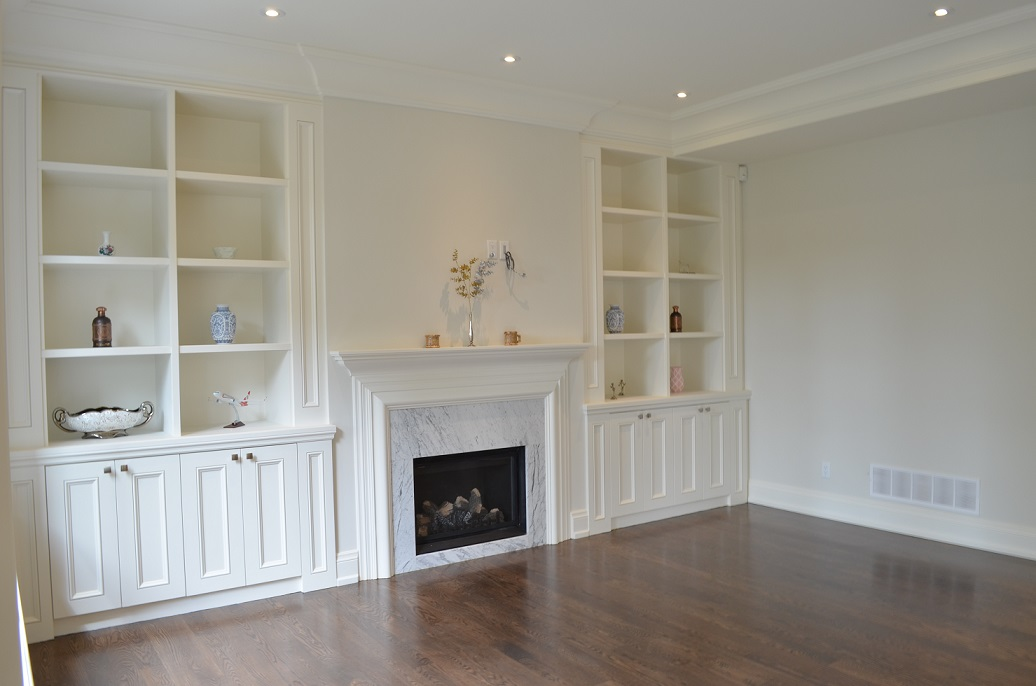 Willowdale transitional custom home - family room built-in wall unit