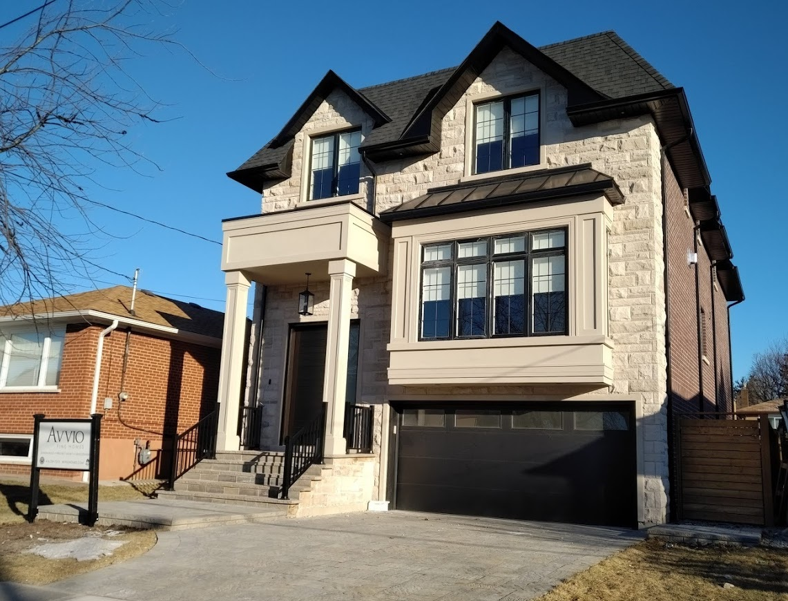 Front elevation - transitional North York custom home