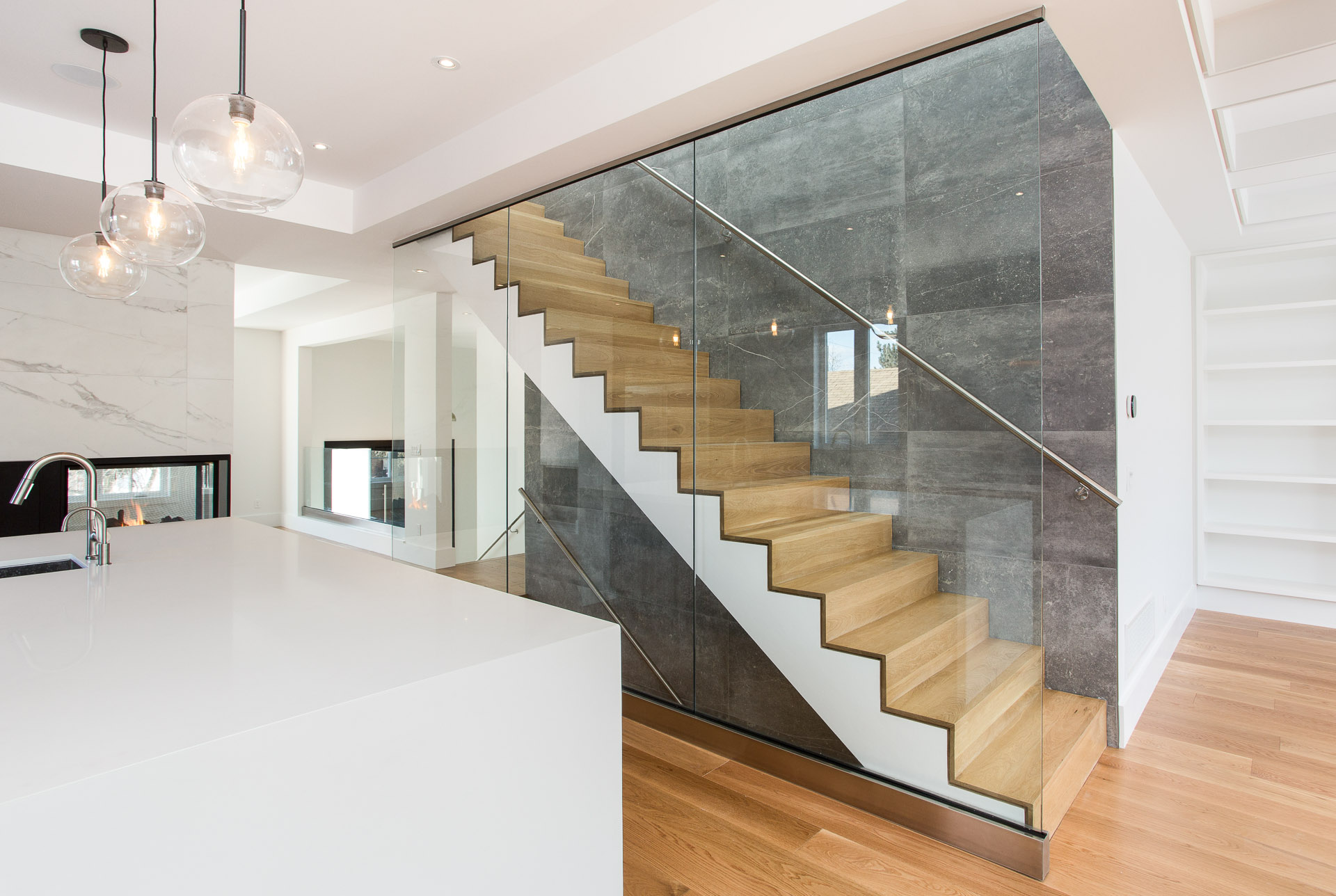 North York Modern Custom Home - Feature Wall & Stairs