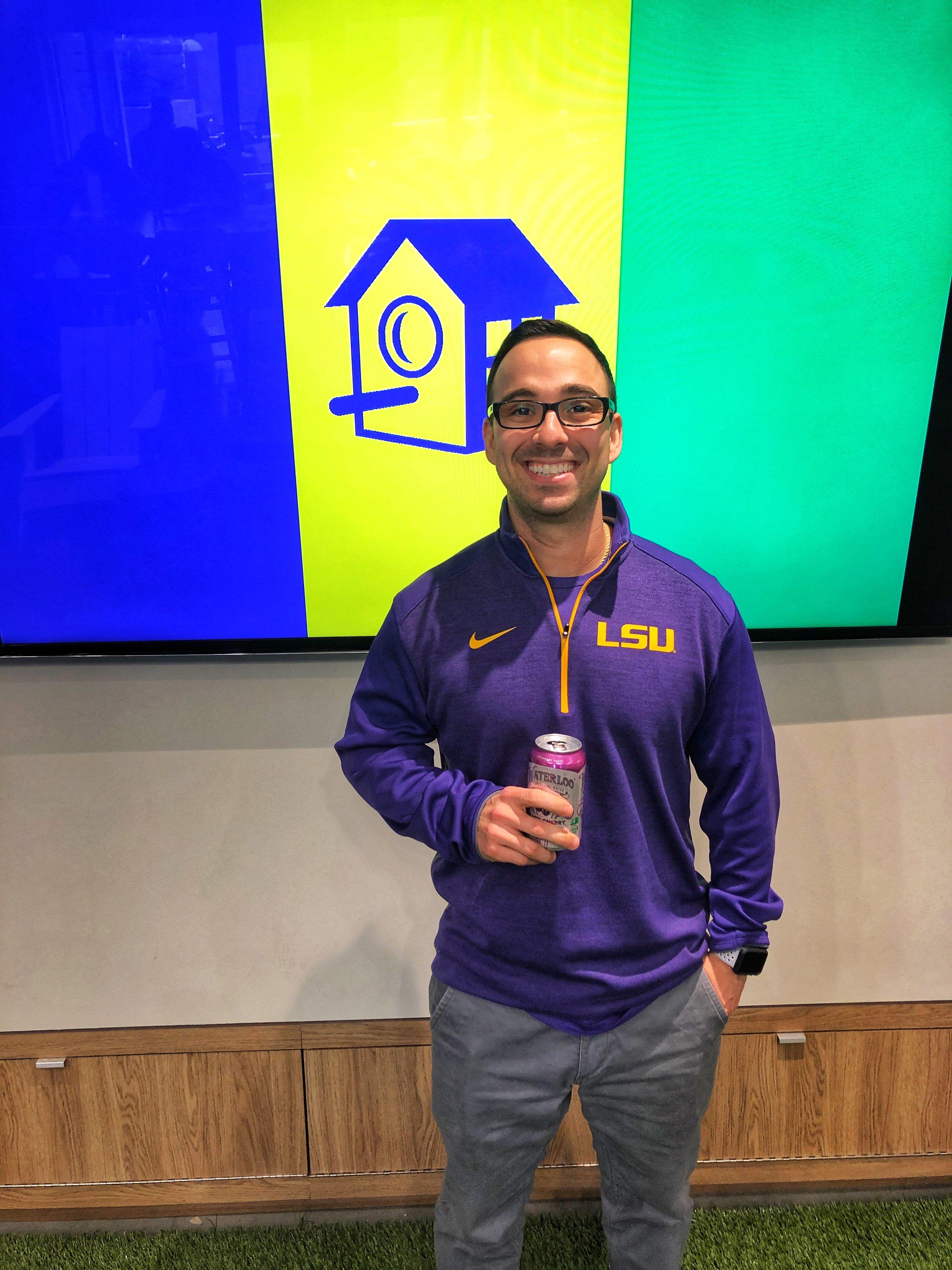 Matt Carboni representing his alma mater, Louisiana State University.