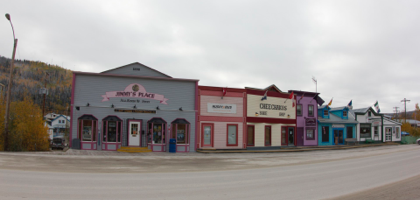 The picturesque storefronts in Dawson City.