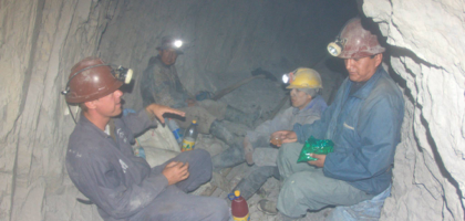 Hanging out with the Bolivian miners in the middle of the mountain.