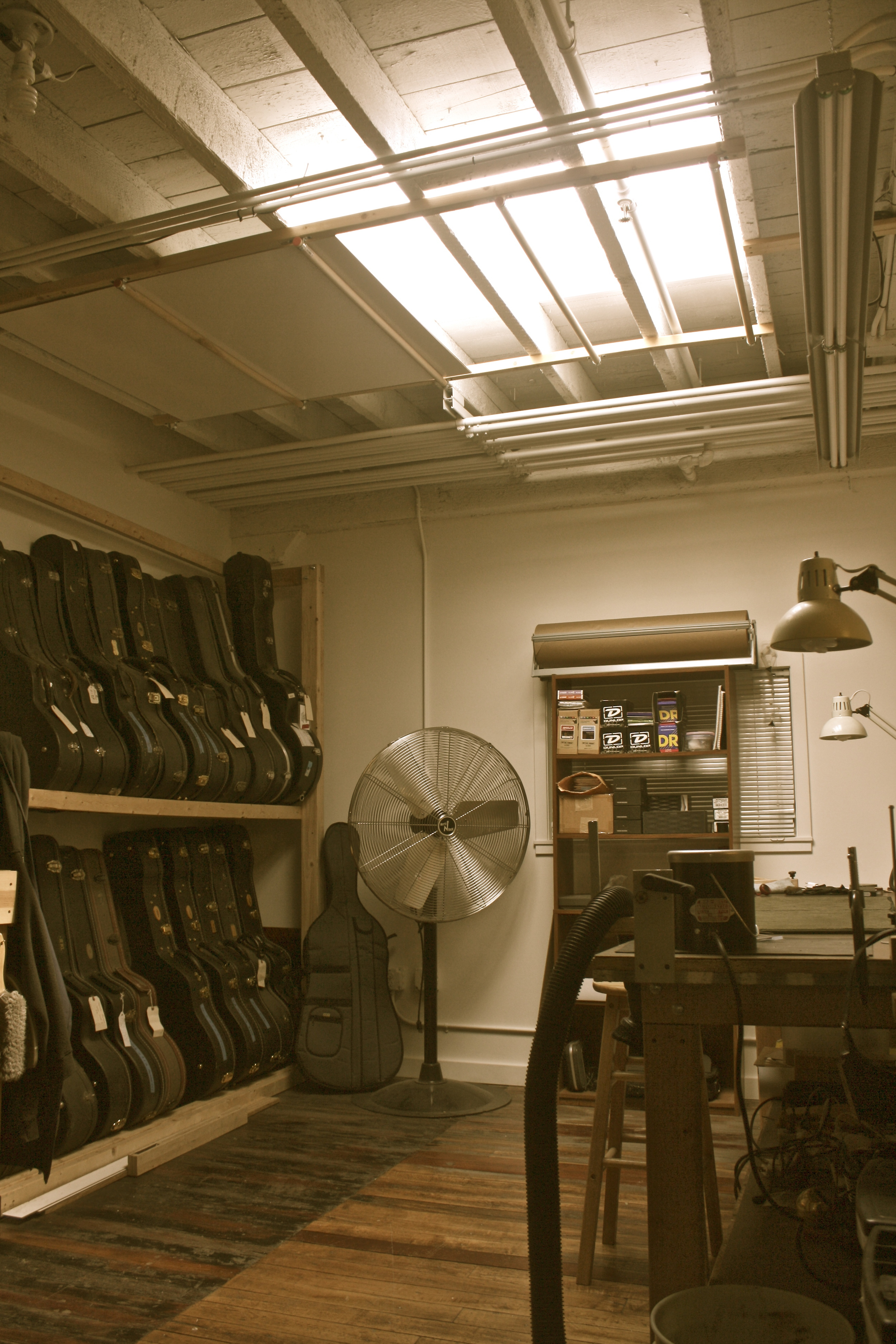 The shop is three floors with the top floor being dedicated to finish work, the final assembly of the guitars and vintage restoration. Having a large skylight with ample natural sunlight is paramount in doing top quality finish and restorative work.