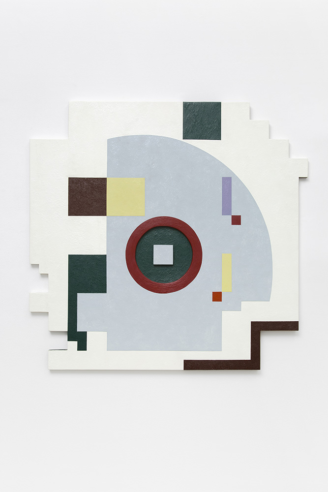 Marilyn Lerner   Shifting Shapes , 1988  Oil on wood  42 x 43 1/2 inches