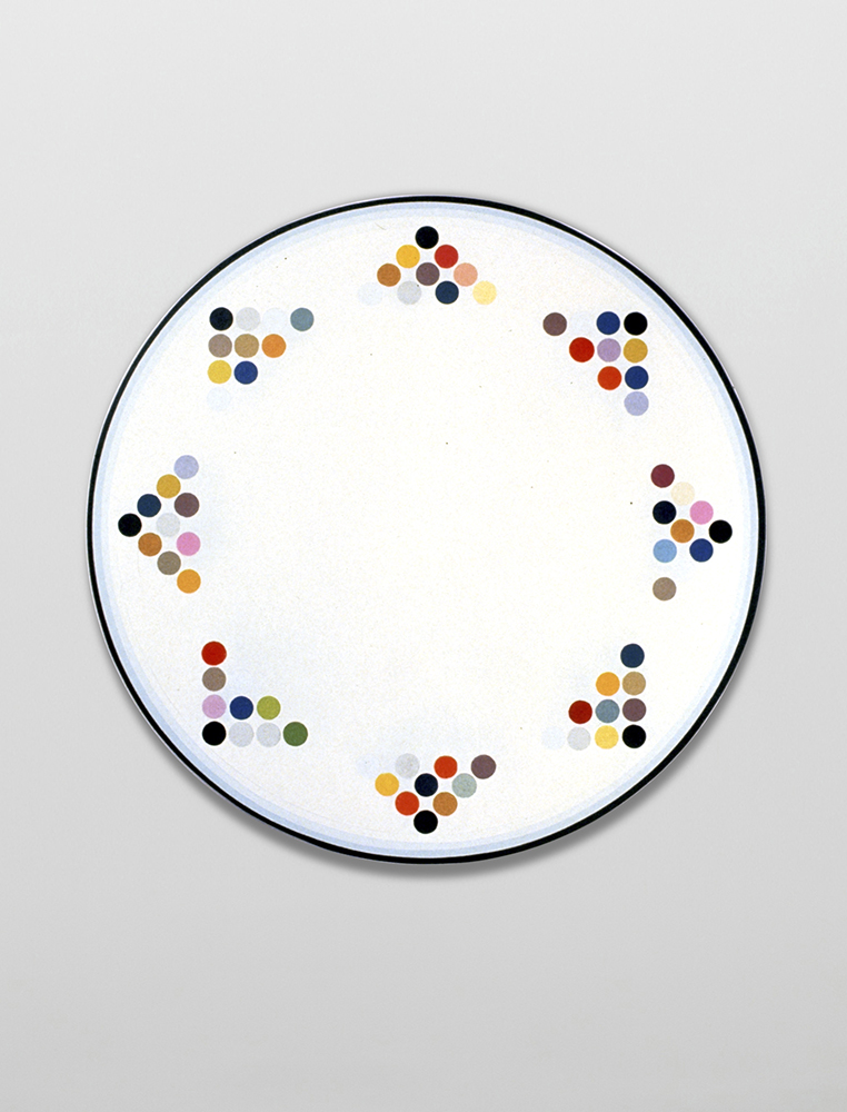 Marilyn Lerner   Bandune,  1996  Oil on wood  21 inches diameter