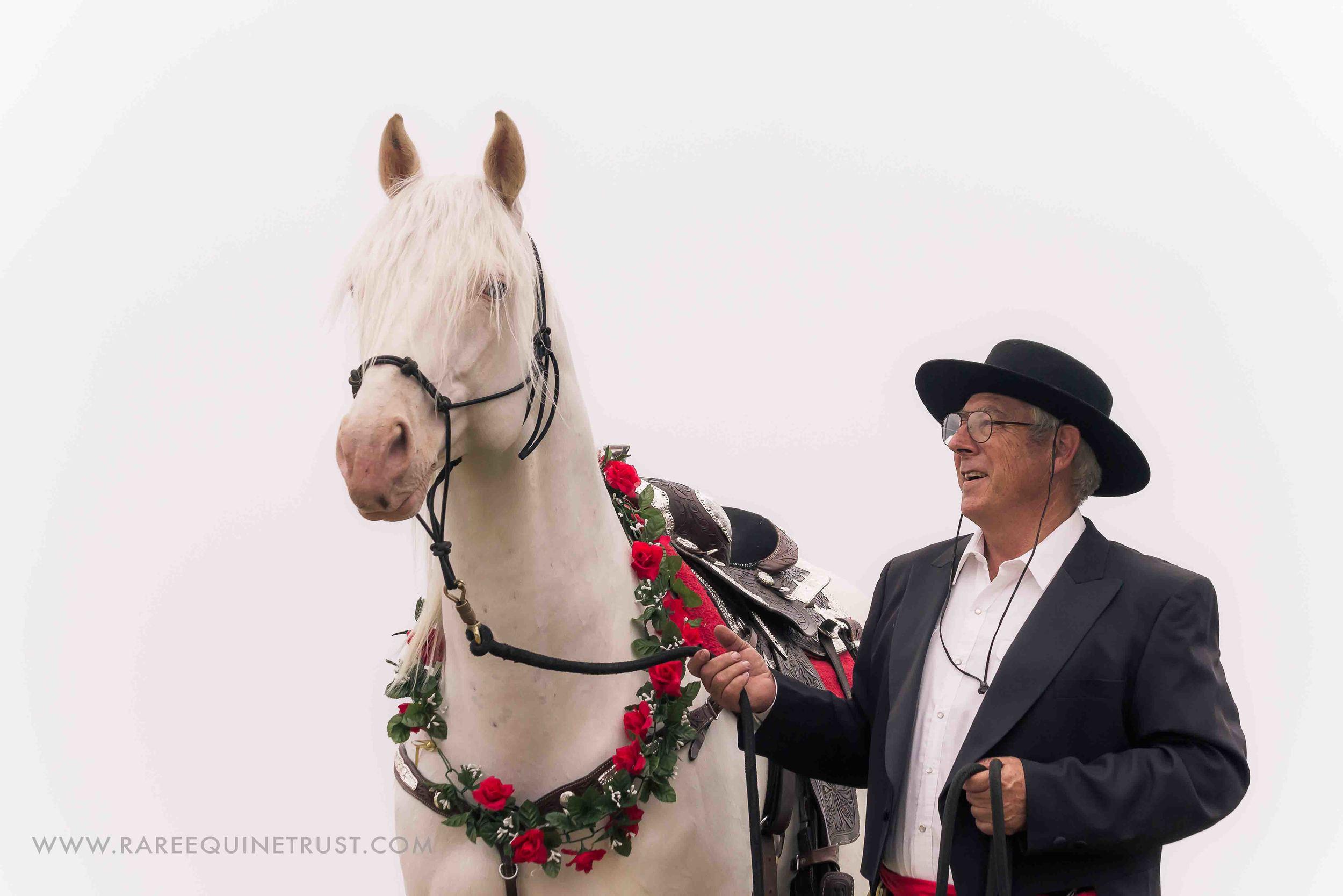 Adolfo Camarillo Great-grandson Harold Parker and his Camarillo White Horse stallion El Patron.