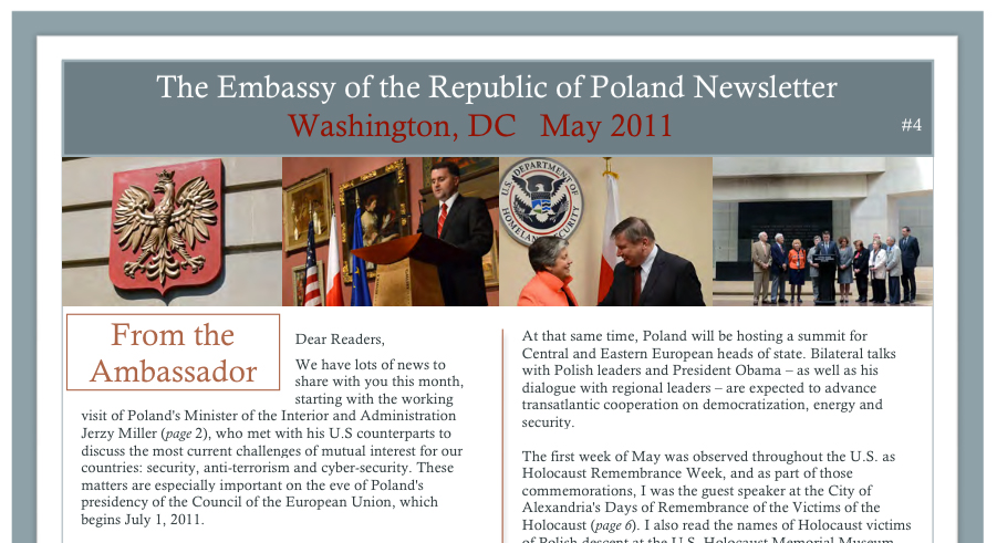 THE EMBASSY OF THE REPUBLIC OF POLAND: Newsletter
