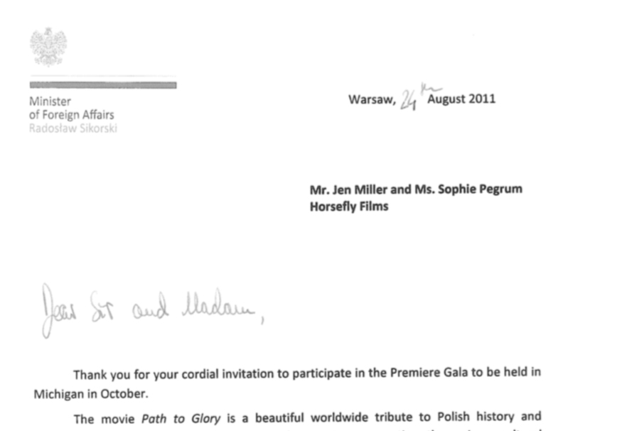 MINISTER OF FOREIGN AFFAIRS, POLAND: Letter of Support