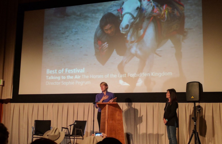 Sophie accepting award for Best of Festival with Janet Rose. Monty Roberts in the front row!