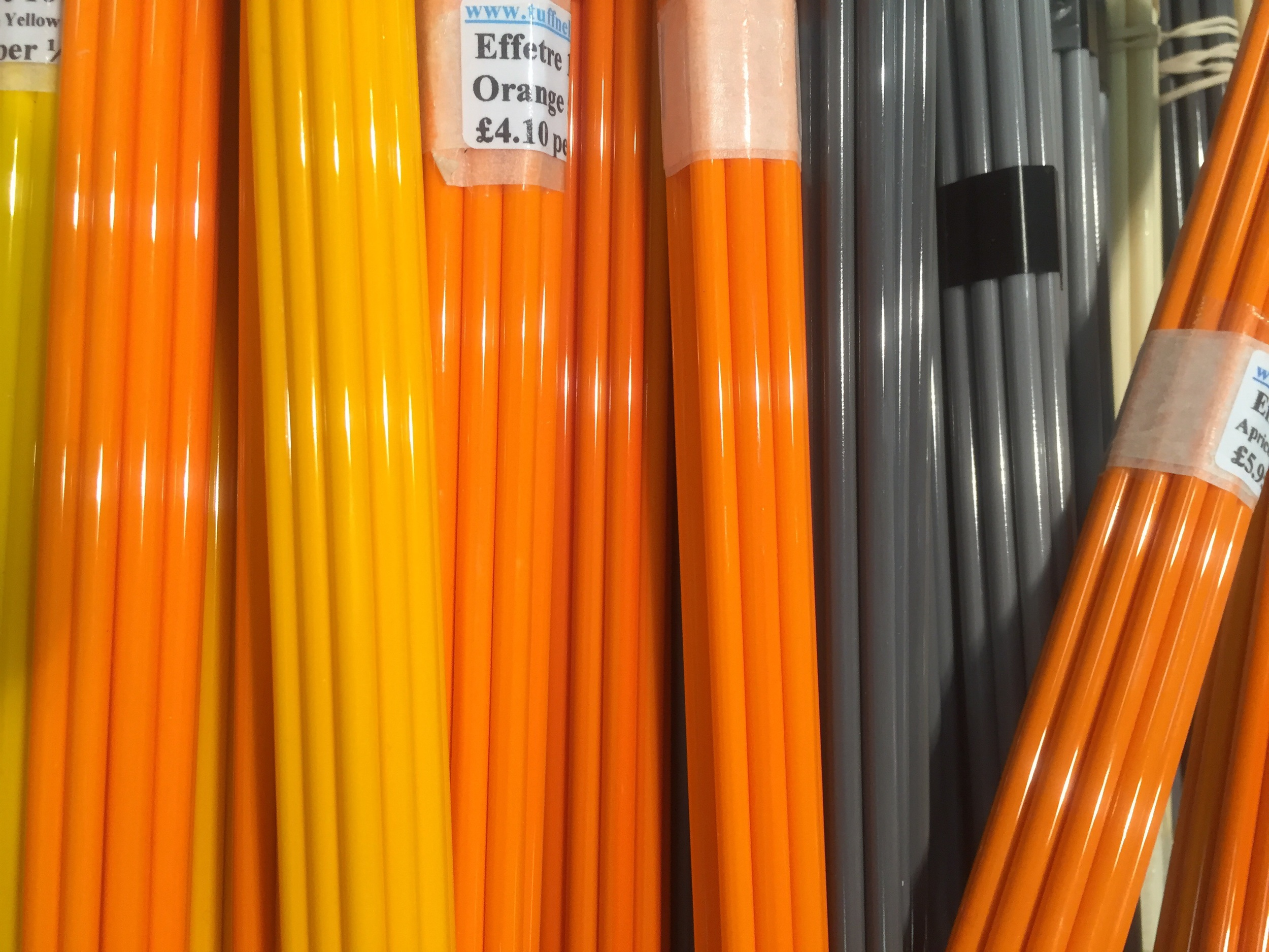 Mustards and Orange Effetre glass rods