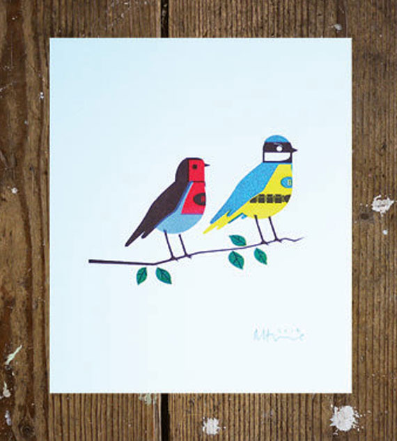 Blue Tit and Robin Risograph Print – elhorno (Richard Horne)