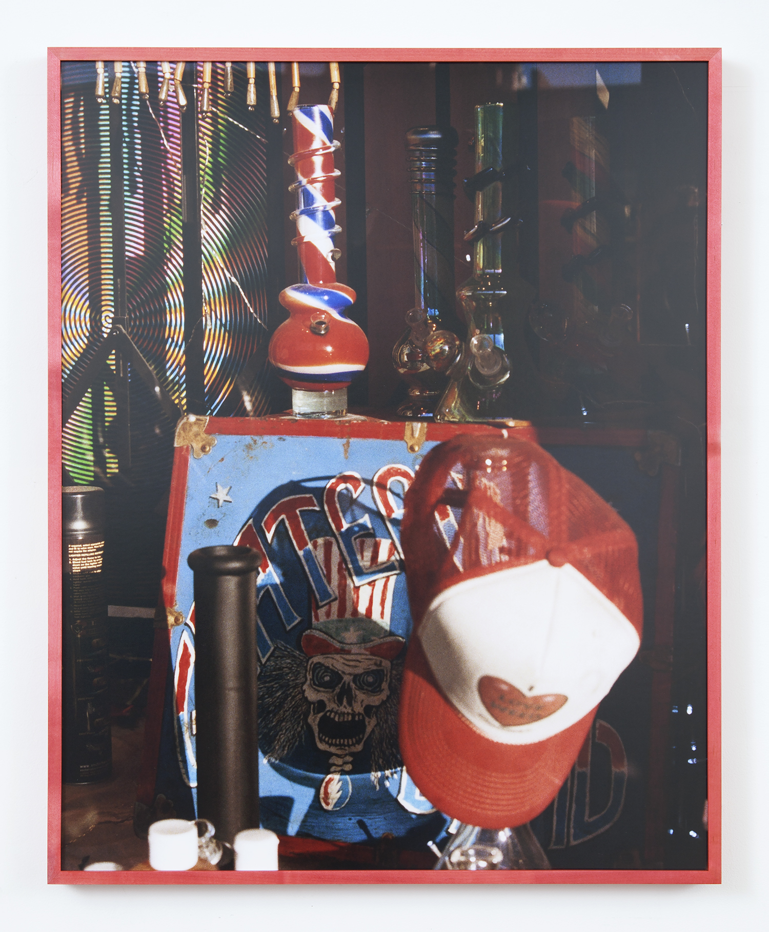 Head Shop , 2018  Chromogenic Print  Manic Panic ®  Rock 'N' Roll™ Red Stained Frame  24 x 30 Inches