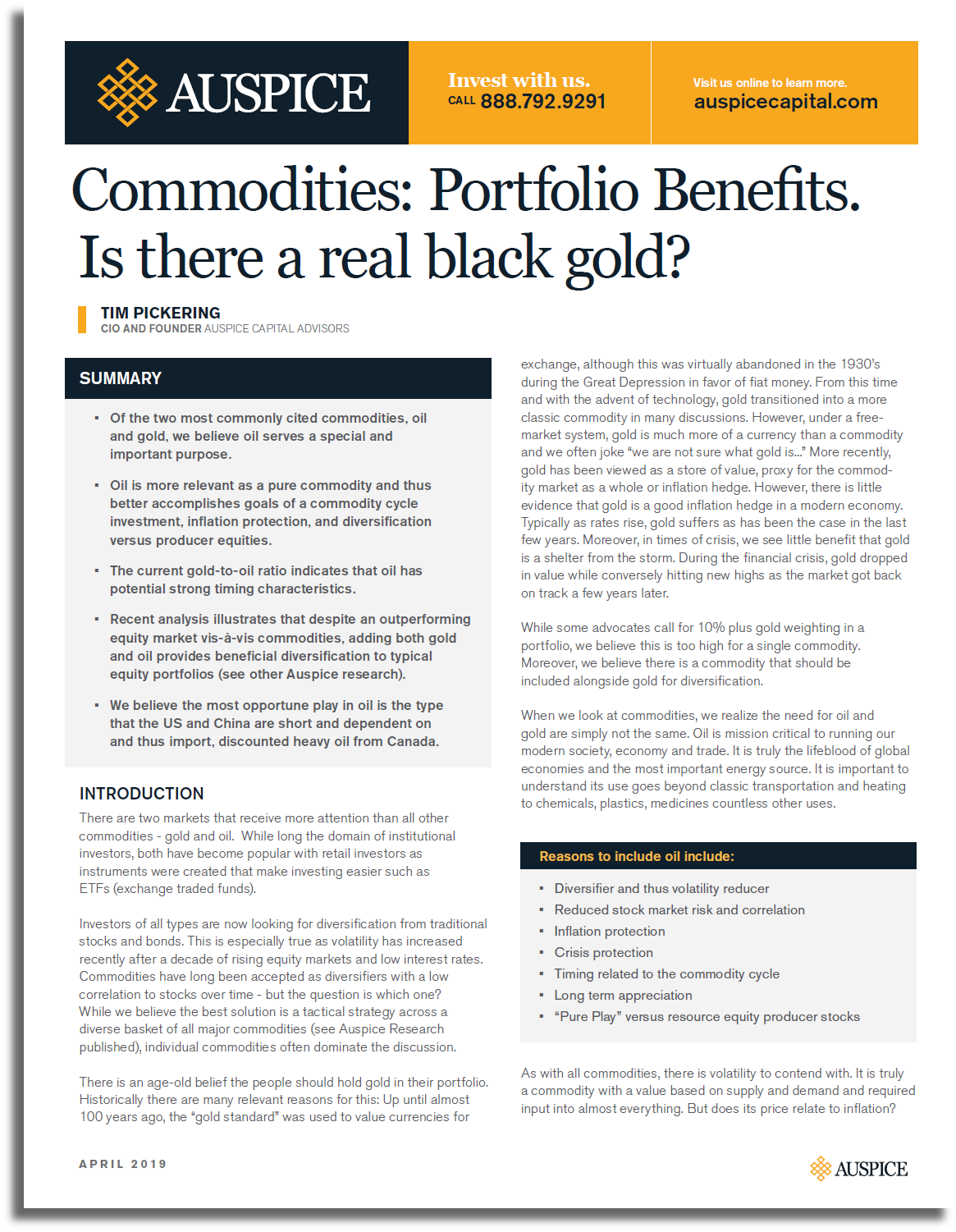 Commodities: Portfolio Benefits-Is there a real black gold?