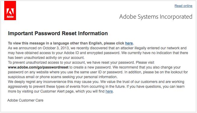 Adobe Password Reset
