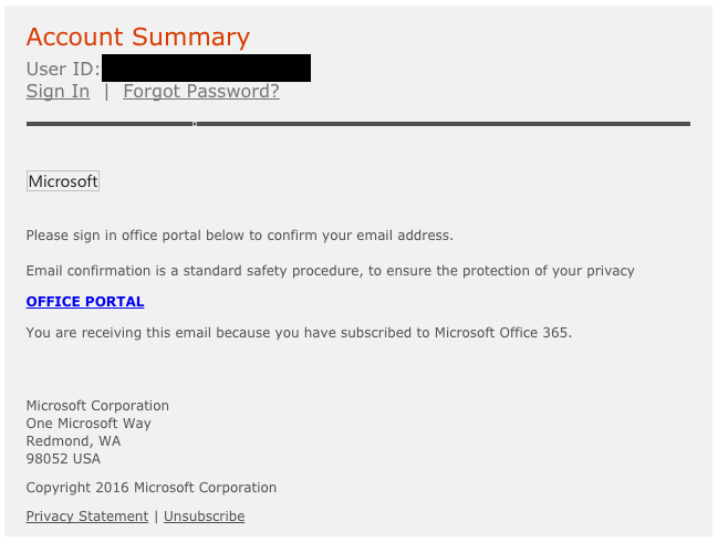 Fraudulent Email