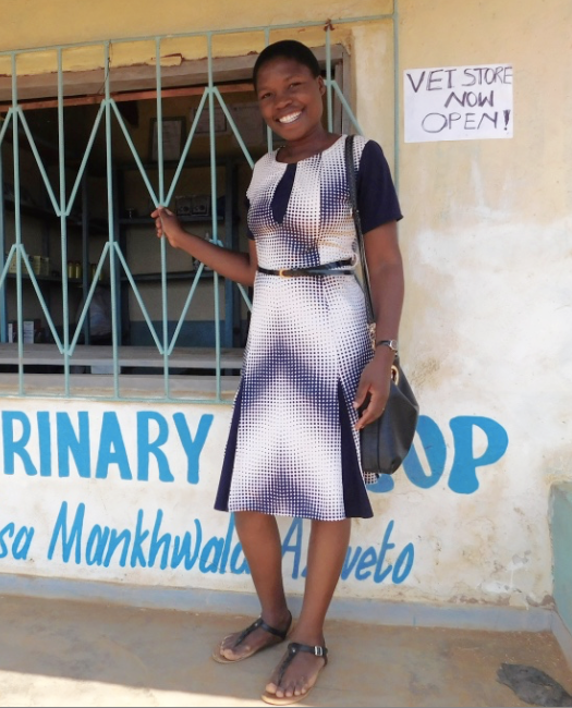 Grace Phiri stands in front of her newly opened vet shop in rural Ntchisi, Malawi.