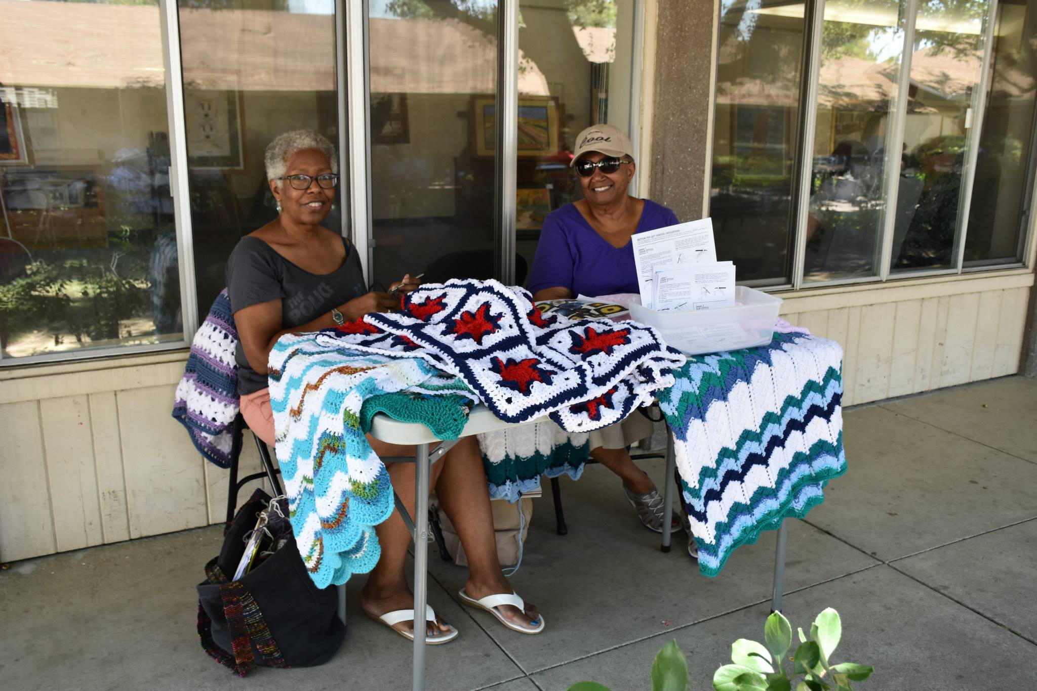 Joyce and Sharon, Fineries members at the 2015 Art on the Wall- Jazz on the Grass