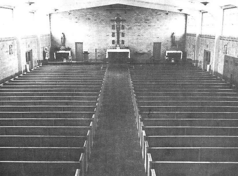 The interior of the first permanent church which is now Lux Hall (the gym)