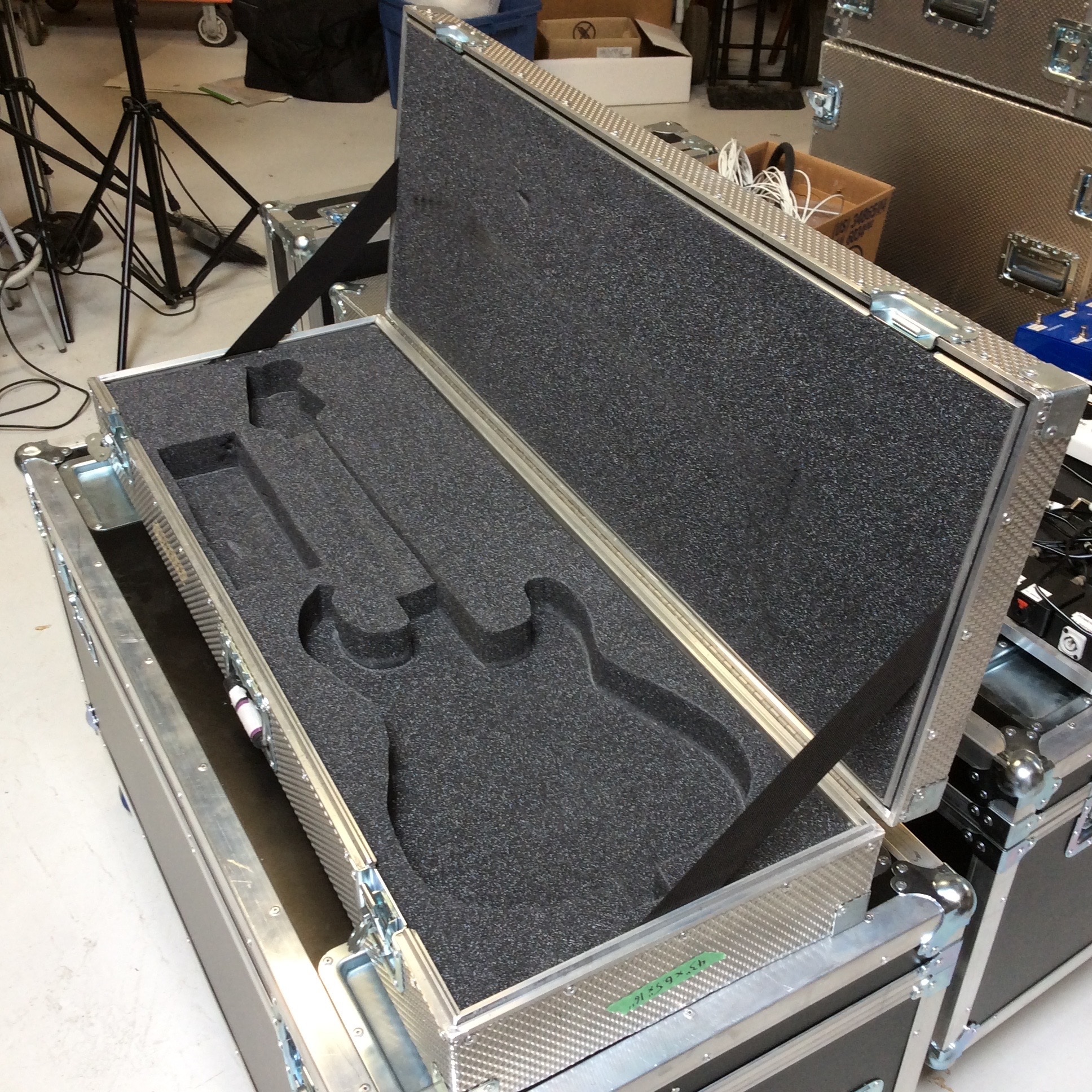 """Guitar Flight Case 1  Make: Engineered Case Manufacturers  Dimensions: 43"""" X 16"""" X 6.5""""  Notes: Stratocaster Foam Cutout"""
