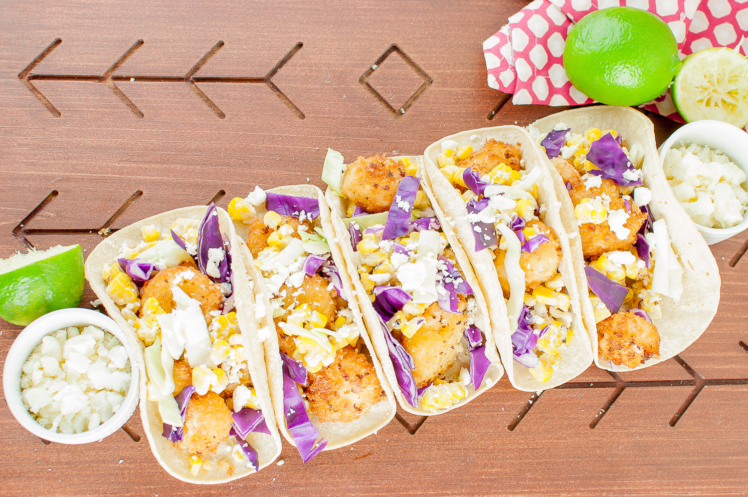 mexican corn and chili lime shrimp tacos | kitchen lush