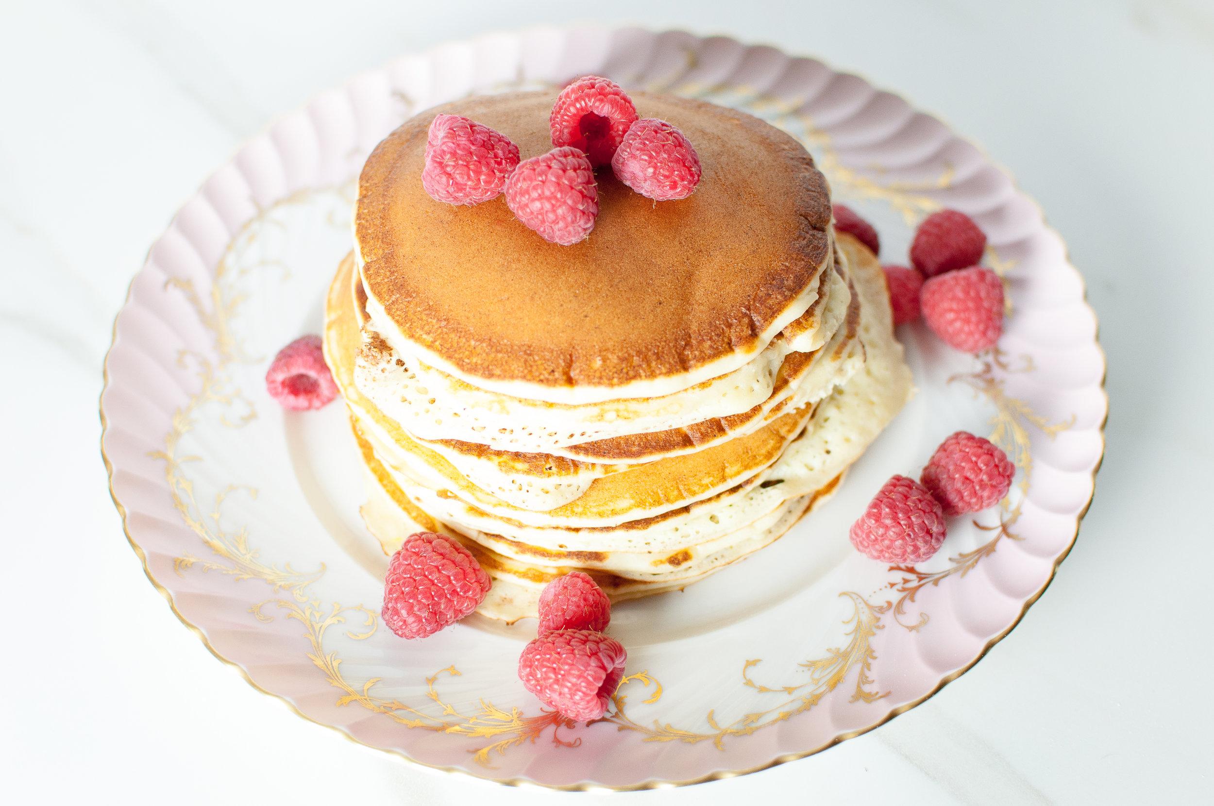 whipped lemon ricotta pancakes with raspberry preserves #SayItWithHomemade #BonneMaman | kitchen lush