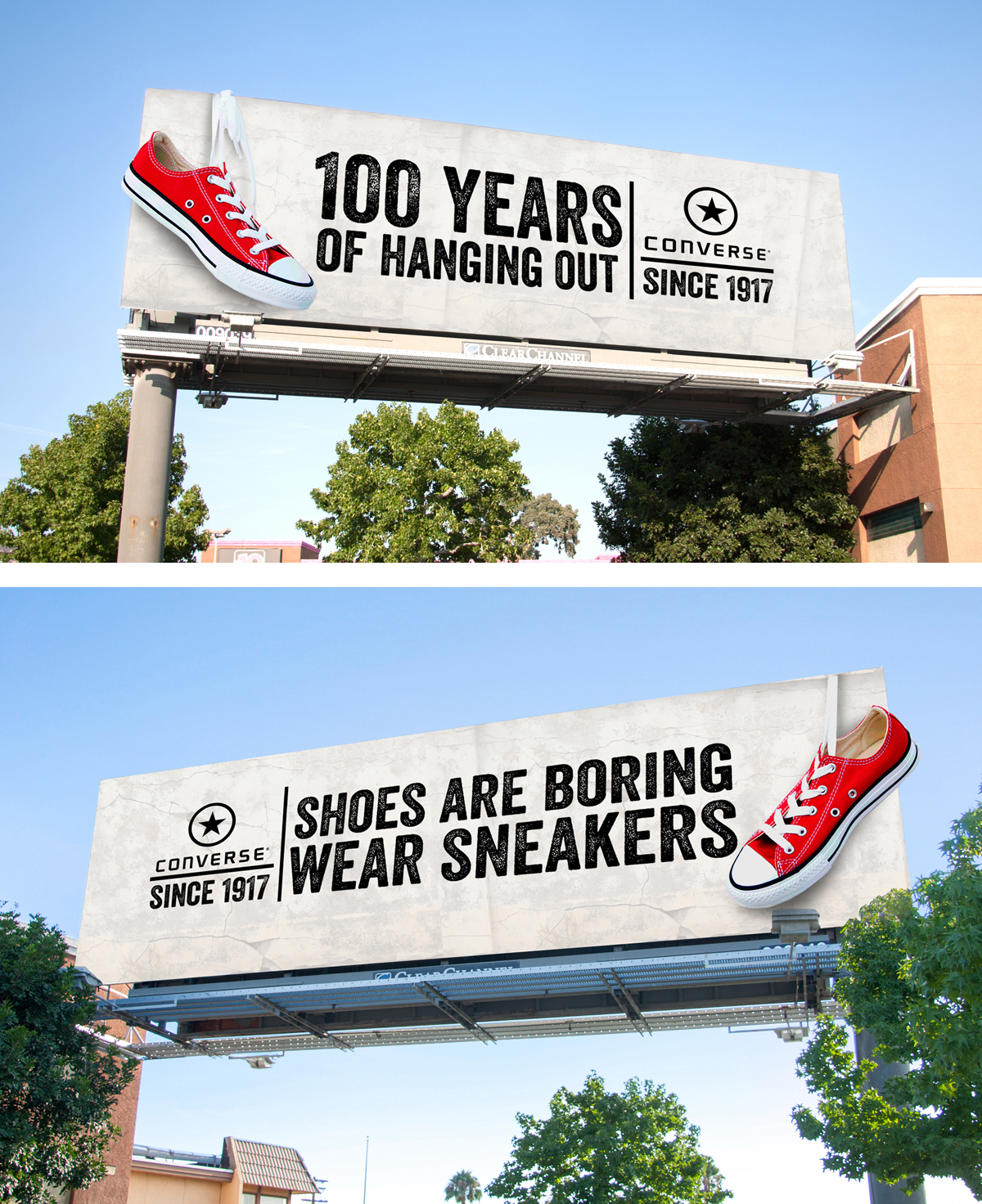 A pair of Chuck Taylors over a telephone wire is a sight seen in every urban community, and I thought there was a solid idea there.
