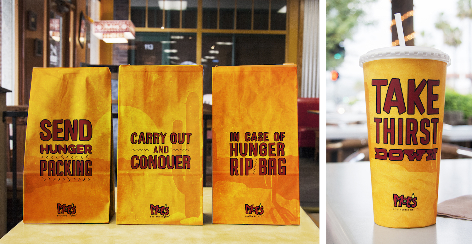 Copywriter Brooke Lingenfelder and designer Rodney Manabat collaborated on this Moe's campaign in a previous Team's Course  .