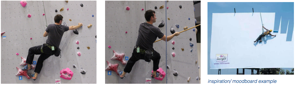 In order to get the right imagery for the outdoor boards, friends were enlisted friends and custom photography was shot at a climbing gym.