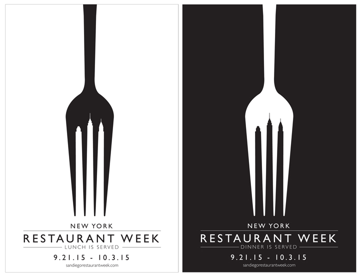 Restaurant Week by student Nicole DeRosier. The possibilities to roll this concept out are endless using skylines and forks. She did just that.