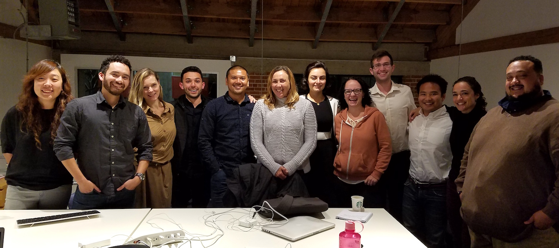 UX students right to left: Britt, Oriana, Kaison, Jonathan, Ashley, Atri, Lorena, John, Gilberto, Macoe, Jason and Jessica