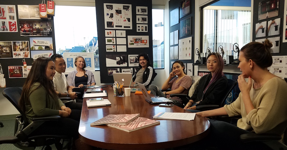 Jennifer Novak with (L to R) Flora Kim, Oriana Jones, Norberto Beltran, Randi Cantrell, Erik Sena and Angela Rogers.