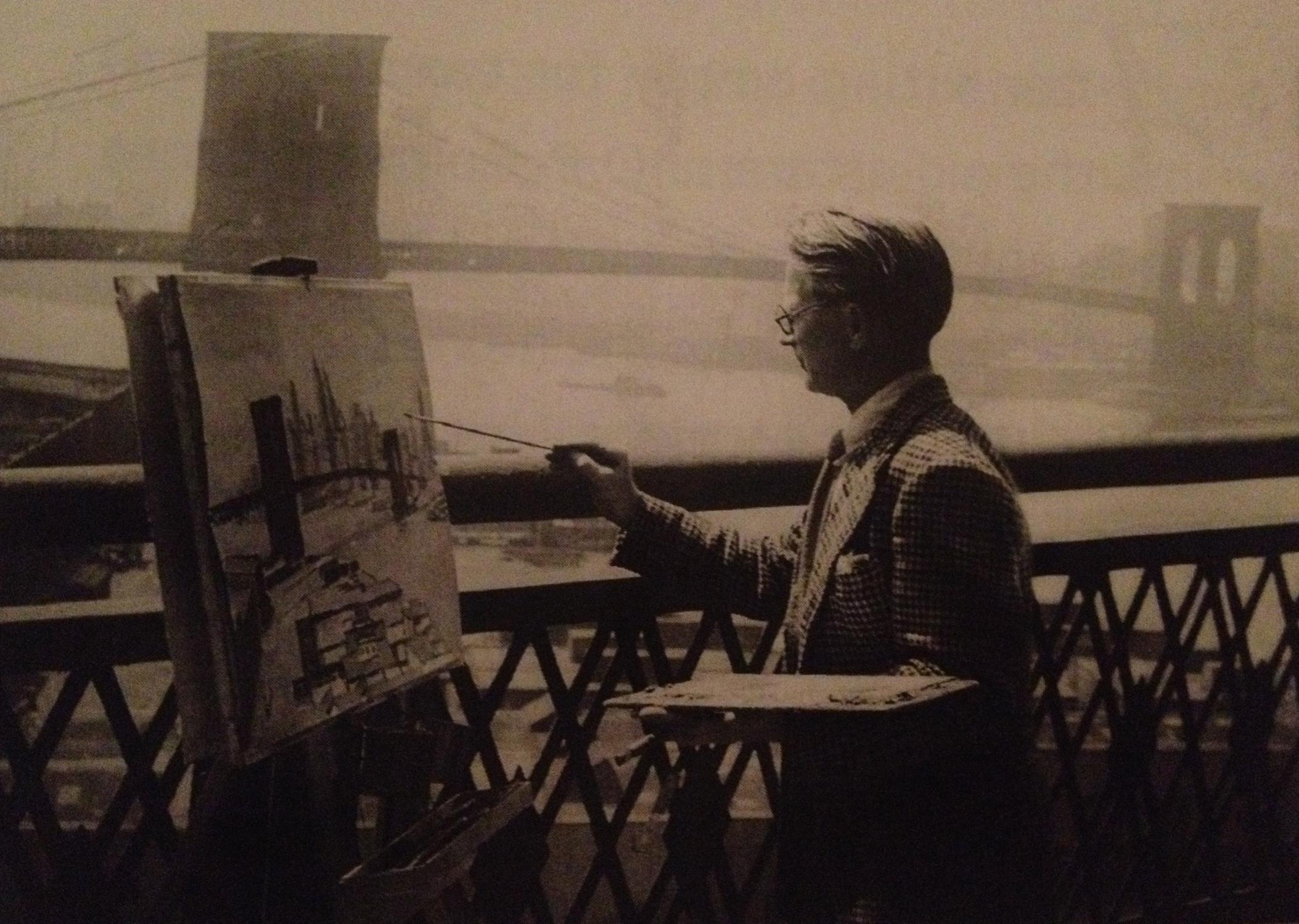 Benny in New York painting Brooklyn Bridge (1949)