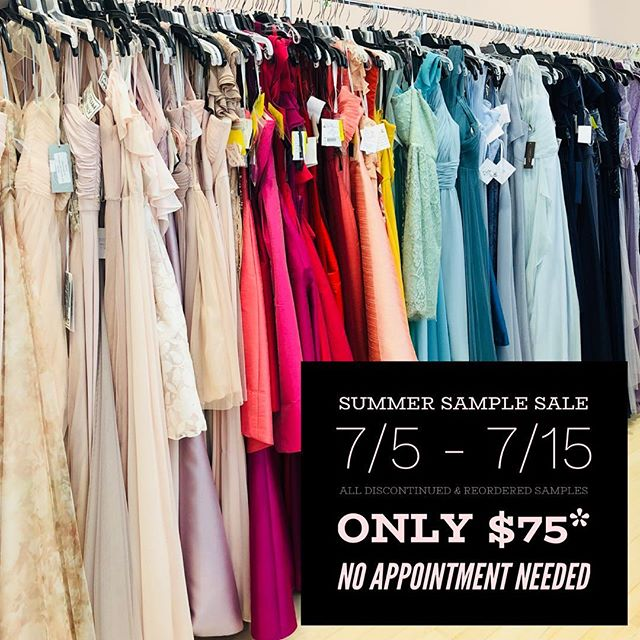 💥SAMPLE SALE STARTS THURSDAY💥 Discontinued & reordered samples will be out on the floor for just $75*! Get a gorgeous gown for Weddings, Parties, Fundraisers, Trips ~ everything fancy you've got going on this summer ~ we might have the look for you! 👉🏻 No appointment needed. 👈🏻 Gather your crew or stock your closet and save even more! Groups/purchases of 3 or more dresses get $5 off, 5 or more get $10 off, 7 or more get $15 off! {sale styles only} *Separates ~ $50, @adriannapapell & Flower Girls ~ 50% off. . . . #bridesmaids #bridesmaid #614bride #614 #columbusohio #ohiobride #columbusbride #cbusweddings #columbusweddings #bridetribe #dressshopping #shoplocal #fancydress #futuremrs #isaidyes #columbusalive #expcols #asseenincolumbus #gildedtribe #samplesale #sale #salealert #tsgcolumbus #mixandmatch #ootd #experiencecolumbus #whattowear #weddingguestdress #weddingguest #goingtothechapel