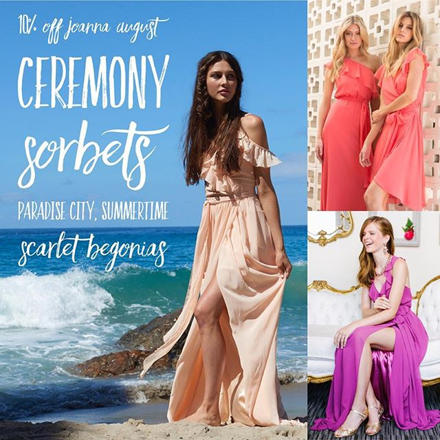 JULY @joannaaugust PROMO👉🏻 10% off Ceremony sorbets: Paradise City, Summertime, & Scarlet Begonias. ☀️🏖🏝 Planning a 2019 beach wedding? A winter tropical vacay? These gorgeous colors are just for you! 👉🏻 But DON'T DELAY! With a promo like this, they won't last long, so July is the time to book your appointment with our #linkinbio☝🏻#joannaaugust . . . Offer valid for new parties only, orders must be placed by July 30th, DM us for details! . . . #bridesmaids #bridesmaid #614bride #614 #columbusohio #ohiobride #columbusbride #cbusweddings #columbusweddings #bridetribe #paradisecity #scarletbegonias #beachwedding #shoplocal #summertime #summerwedding #engaged #isaidyes #columbusalive #expcols #asseenincolumbus #gildedtribe #gildedsocial #wrapdress #coral #magenta #peach #goingtothechapel