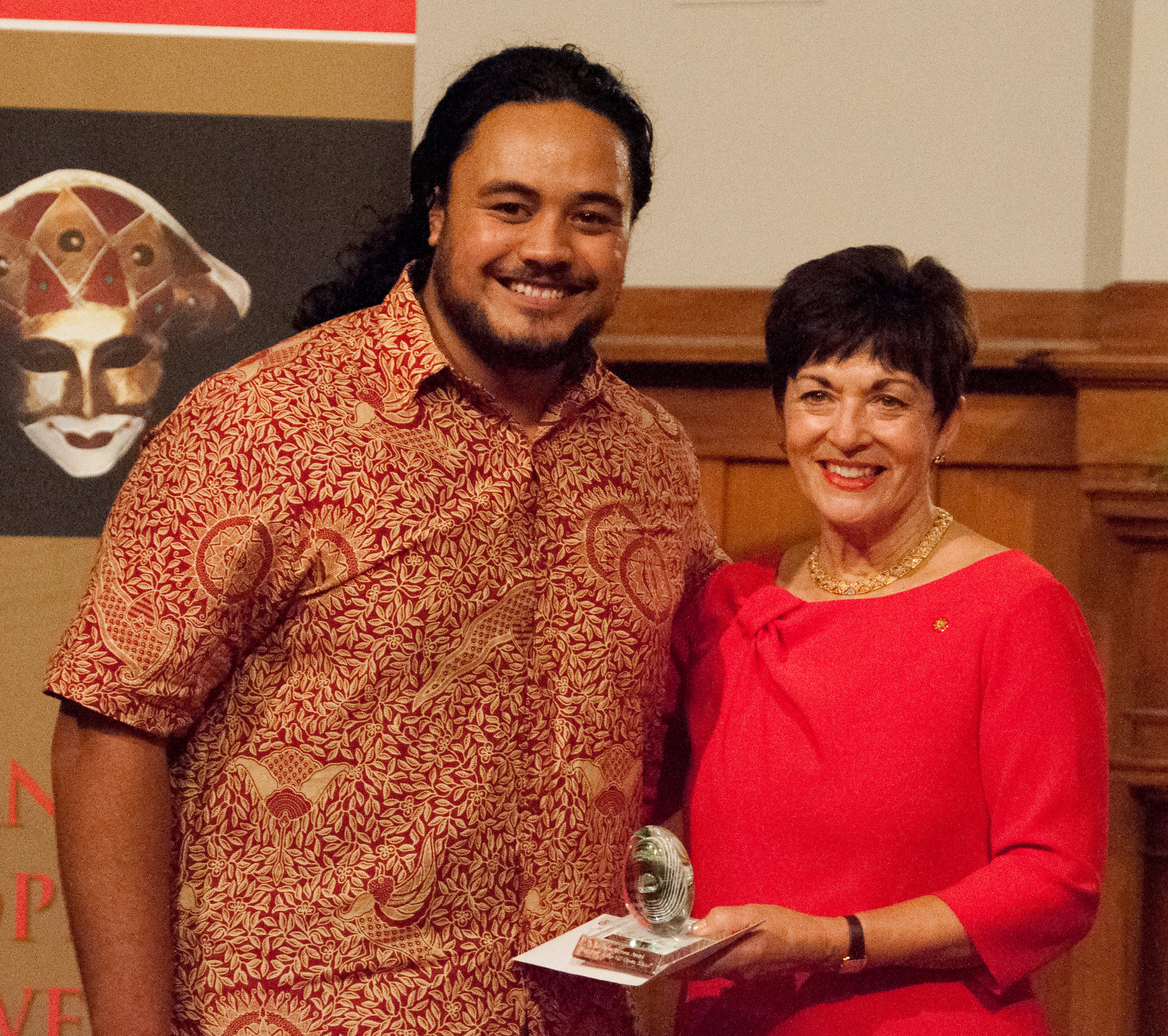 The Governor General, Her Excellency The Rt Hon Dame Pasty Reddy with Samson Setu receiving the Spirit of the Opera School award.