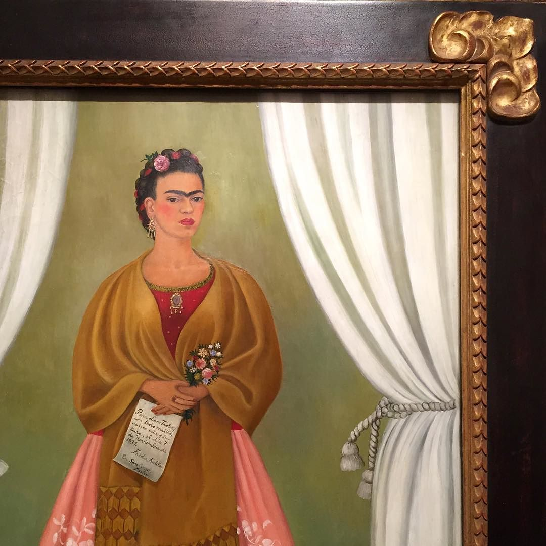 Frida Kahlo: Self Portrait Dedicated to Leon Trotsky, 1937  ABSTRACT: Joseph Stalin expelled the Russian revolutionary Leon Trotsky from the U.S.S.R. in 1929. In January 1937, Trotsky and his wife received asylum in Mexico. They lived with Kahlo and her husband, artist Diego Rivera, for two years before Trotsky was assassinated by a Stalinist agent. In this painting, Kahlo candidly acknowledged her political allegiance to the Mexican Revolution and Marxism by holding a dedication to Trotsky.