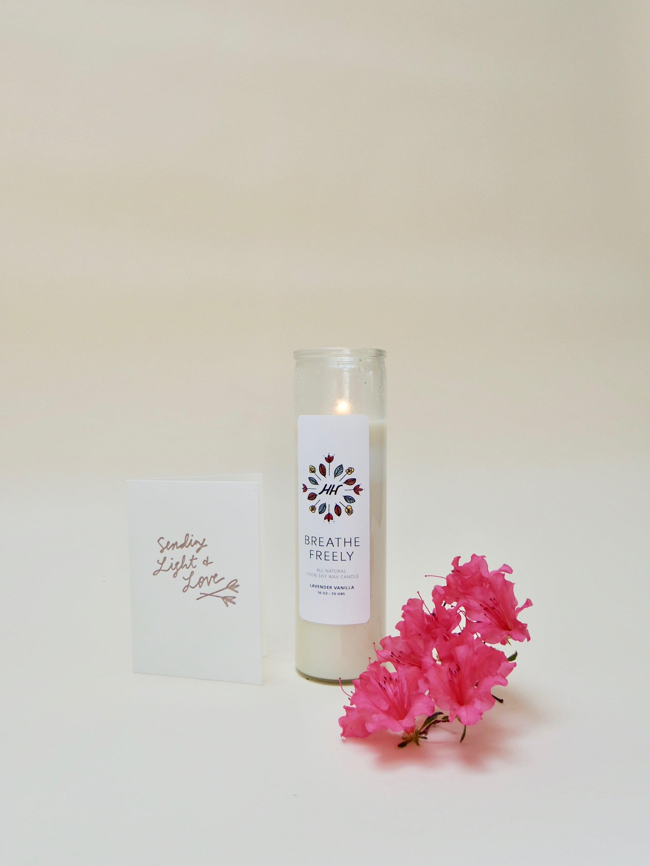 Breathe Freely soy candle  and  Sending Light and Love letterpress greeting card