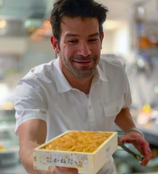 Chef Mendes showing off a box full of treasures (uni). Big thanks to @docsconz for the 📸 Thrilled you could join us for the big celebration. A special month for all of us!