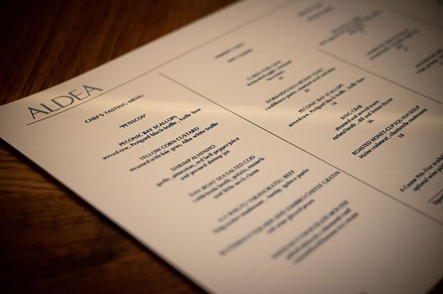 Aldea serves dinner Tuesday through Saturday night, with three distinct dining options: a la carte, prix fixe, or the chef's tasting menu