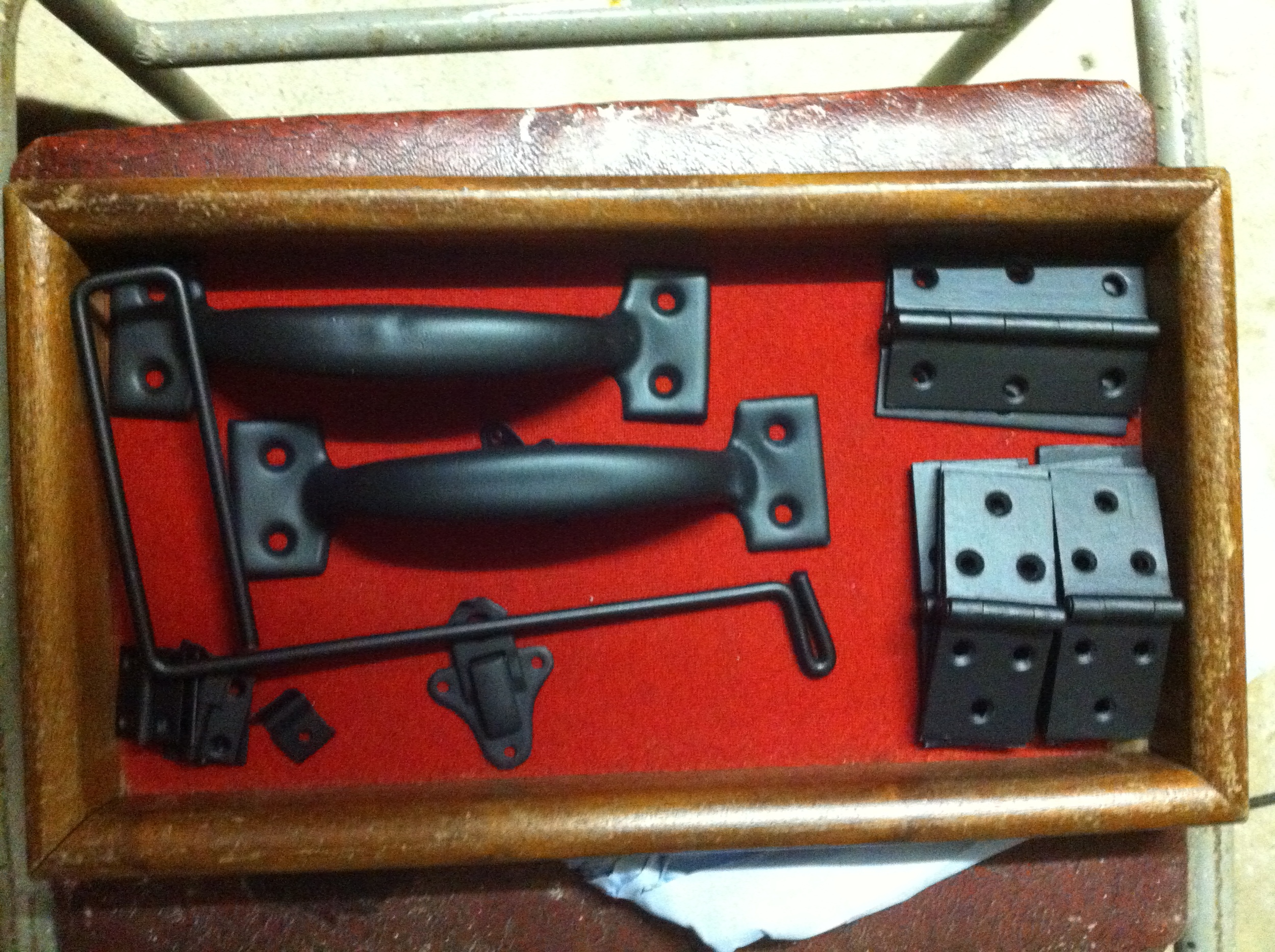 Metal work sporting new black paint