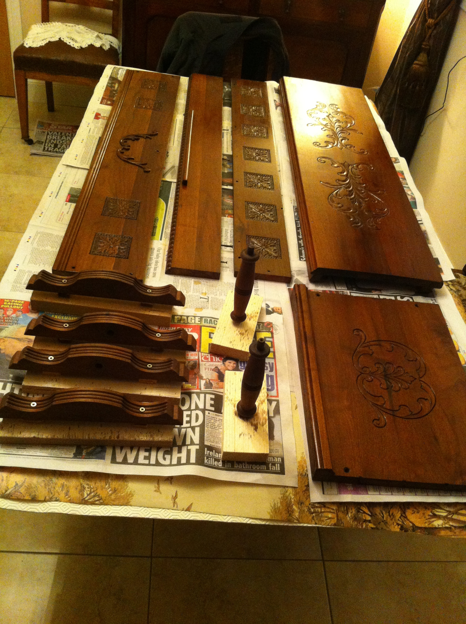 Case parts getting first coats of French Polish