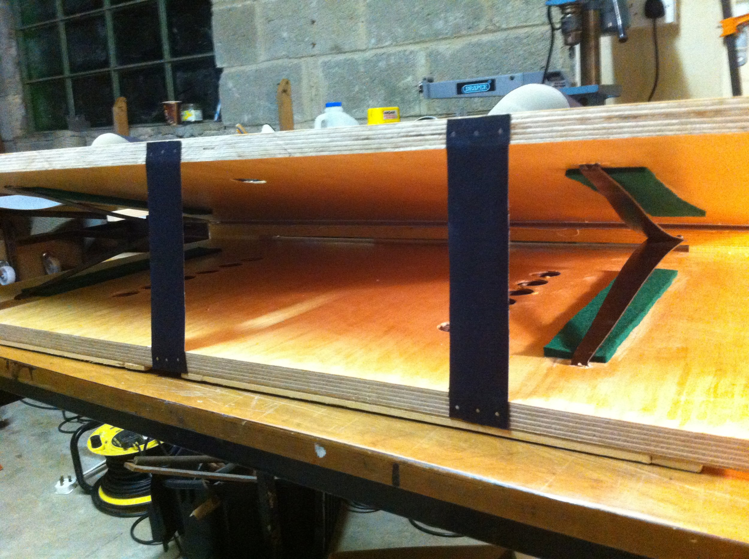 Inside view of new bellows before covering with new cloth