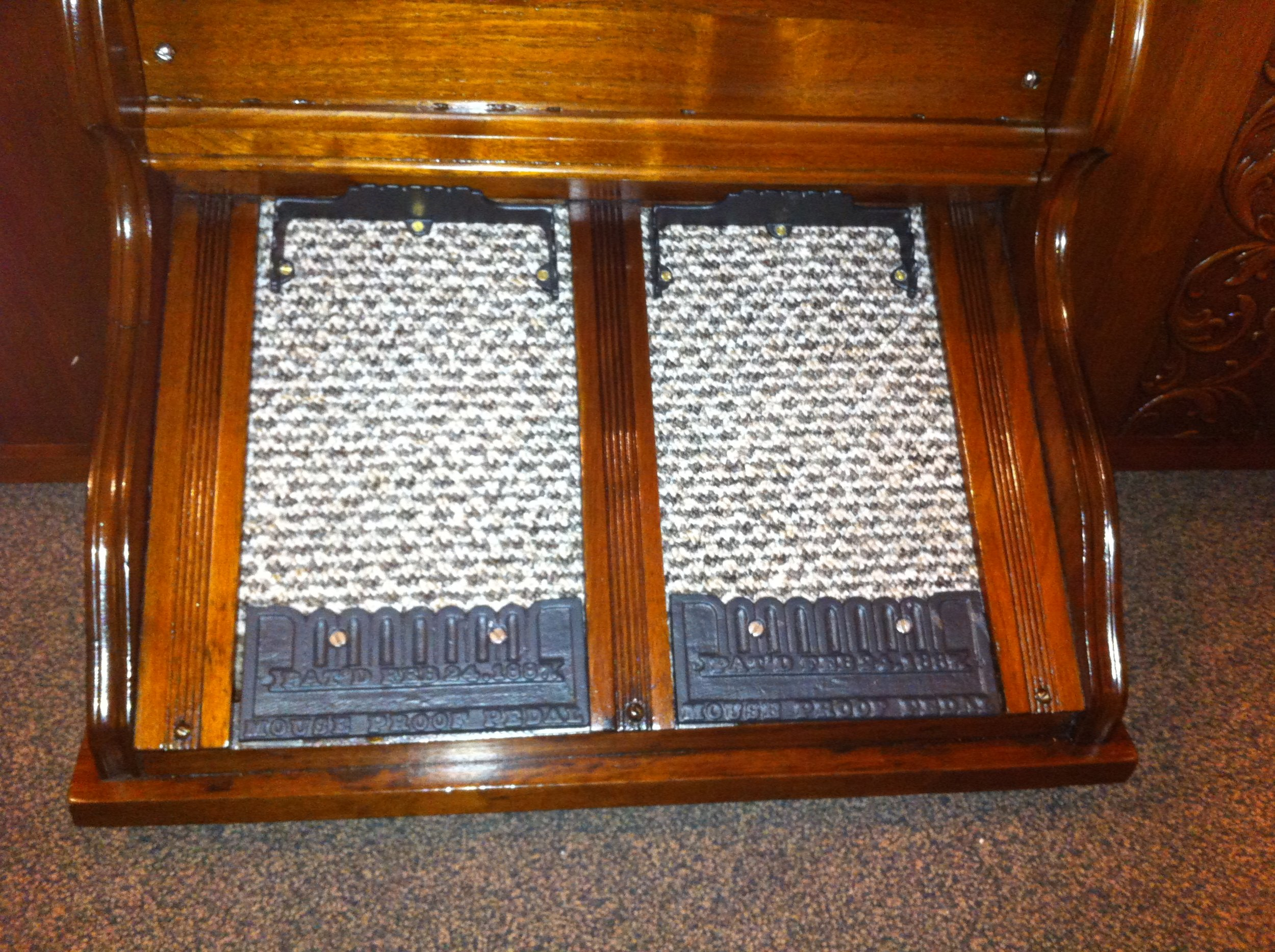 The pedals installed in the organ