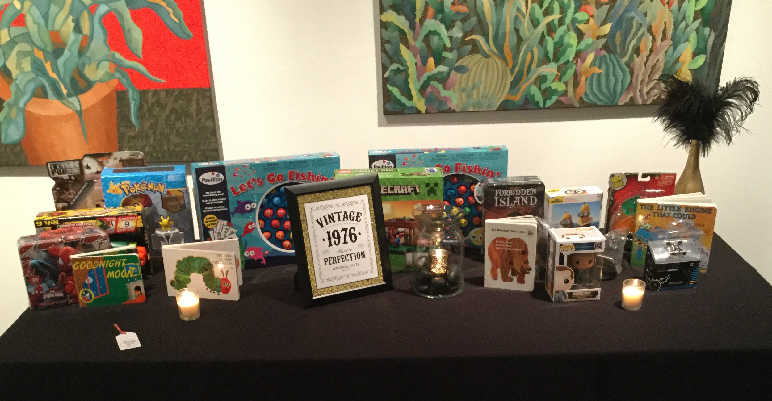 40th Birthday   Venue:  The Liberty Art Gallery & Event Space, Long Beach  In lieu of a gift, this gentleman had guests bring a toy to donate to Toys for Tots!   Over The Moon Package: Full Design, Planning, & Coordination