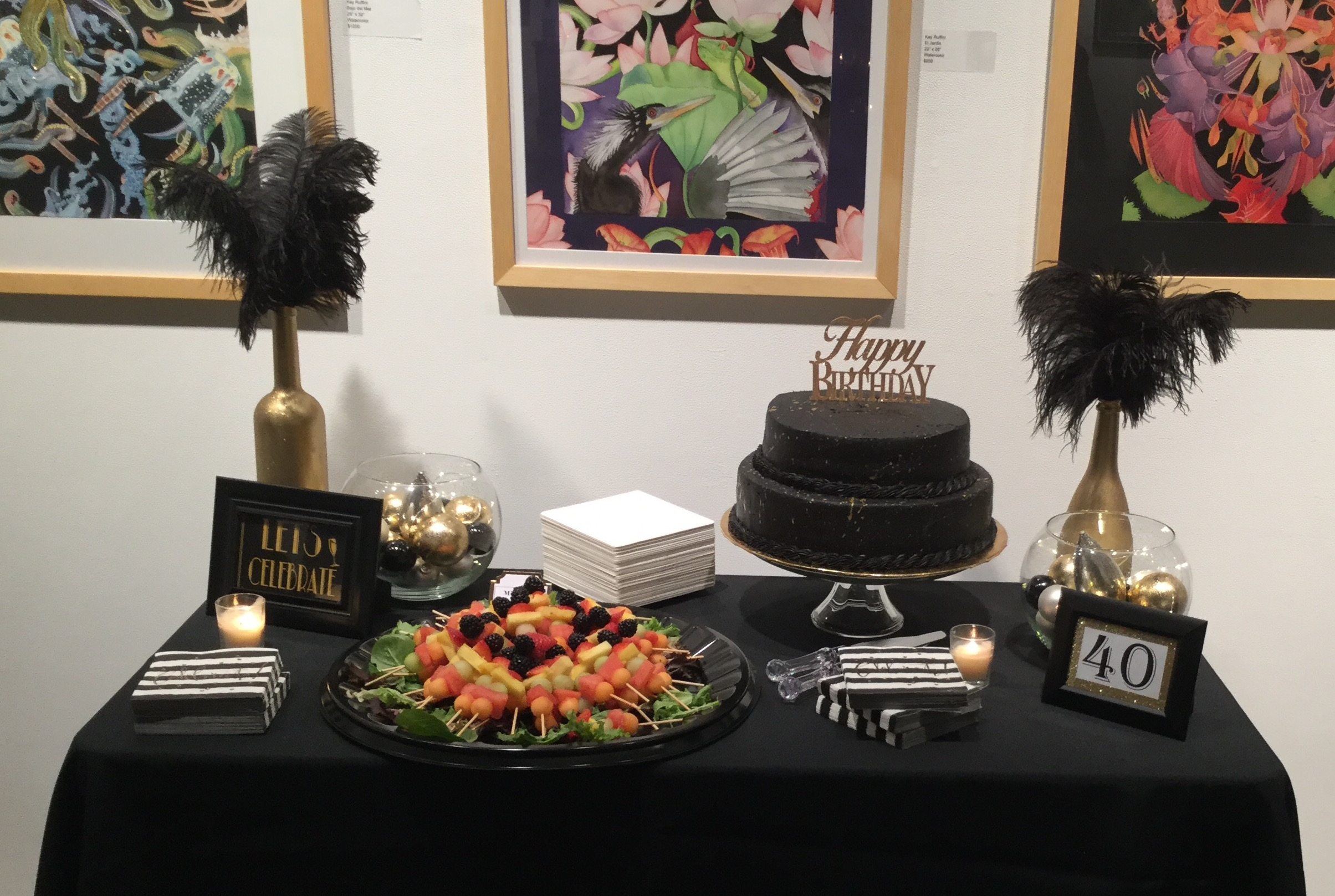 40th Birthday   Venue:  The Liberty Art Gallery & Event Space, Long Beach   Cake:  Bubba Sweets   Over The Moon Package: Full Design, Planning, & Coordination
